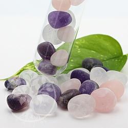 Amethyst, Bergkristall, Rosenquarz Wassersteine in matt für Reagenzglas 200g