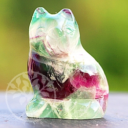 Fluorit Cat Rainbow is about 40 mm tall Stone carving