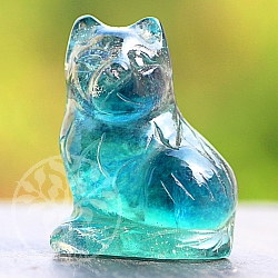 Fluorit Gemstone Cat is about 40 mm tall