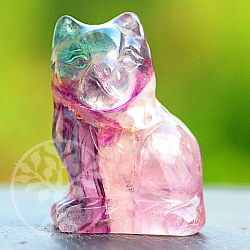 Gemstone fluorite cat 40mm