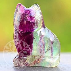Katze als Figur aus Edelstein Fluorit ca. 40mm