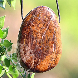 Petrified Wood Stone Pendant BIG 50mm