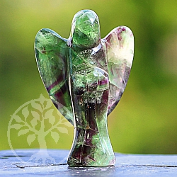 Rainbow fluorite gemstone angel 75mm