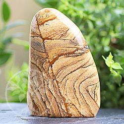 Freiform Jasper-Landschafts Edelstein Skulptur 77*58*26mm