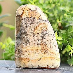 Fels in der Brandung aus Jasper-Landschafts Edelstein Skulptur 81*59*29mm