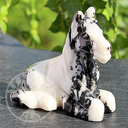 Pferd weiß Zebra Marmor Edelstein 51*32*51mm