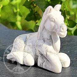 Weisses Pferd aus Edelstein Magnesit 50*31*52mm