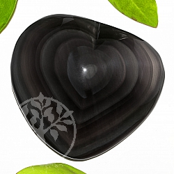 Herz geschliffen aus schwarzem Regenbogen-Obsidian A+/AA 71*78*24mm