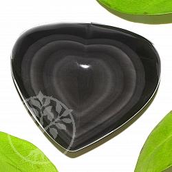 Obsidian Regenbogenobsidian schwarzes Herz Stein A+/AA 57*65*26mm