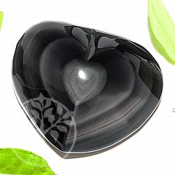 Obsidianherz Gravur, ein schwarzes herz für die Liebe  Regenbogen A+/AA 65*80*36mm