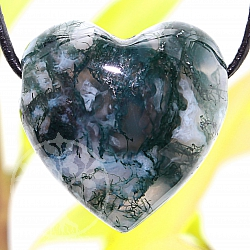 Heart Moosachat Stone Pendant 20mm