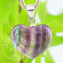 Fluorit Heart Stone Pendant with Sterlingsilver Hook