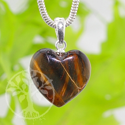 Tigerauge Heart Stone Pendant with Silver 925 Eyelet 15mm