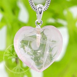 Rosenquarz Heart Stone Pendant with 925 Silver eyelet 18mm