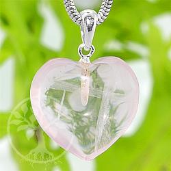 Rosenquarz Heart Stone Pendant with 925 Silver eyelet 18mm