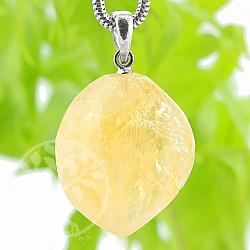 Citrin Stone Pendant with Silver Eyelet 32mm