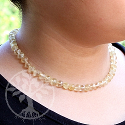 Citrine ball faceted necklace with real silver clasp 45cm