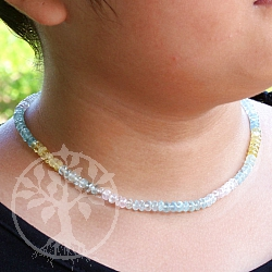 Necklace aquamarine faceted with 925 silver clasp 45cm