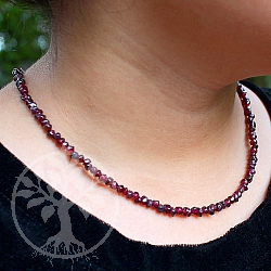 Necklace Garnet Nugget mini with carabiner sterling silver 45 mm