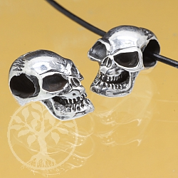 Silver Skull Bead Sterlingsilver 925 7x6mm heavy
