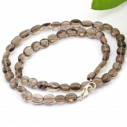 Gemstone Smoky Quartz Necklace 45mm Flat Olive Silver Closure 925 Eye Chain 8-12mm