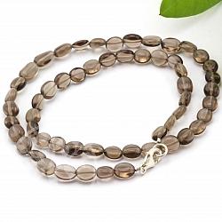 Edelstein Rauchquarz Halskette 45mm flache Olive Silberverschluss Augenkette 8-12mm