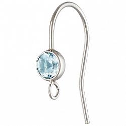 Ohrhaken Silber 925 mit facettiertem hellblauen Topas andere Ohrring Teile anhängbar