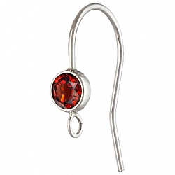 Silver Bezel Ear Wire with facetted Garnet Silver 925
