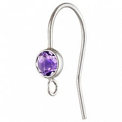 Silver Bezel Ear Wire with facetted Amethyst Silver 925