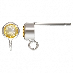 Silver Post Earring with faceted Citrine Silver 925