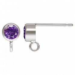 Silver Post Earring with faceted Amethyst Silver 925