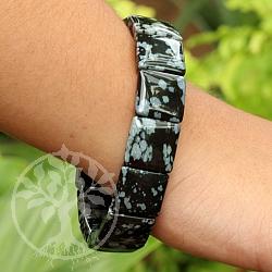 Schneeflocken Obsidian Schwarzes Edelsteine Armband Quattro 15mm