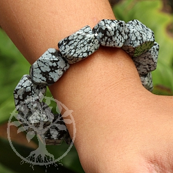 Obsidian Schneeflocke Edelsteine Armband facettierte Nuggets