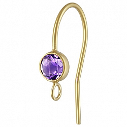 Gold Bezel Ear Wire with facetted blue Amethyst Goldfilled 14K 1/20