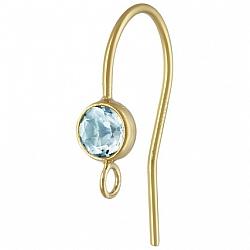 Ohrhaken Gold mit facettiertem hellblauen Topas, Goldfilled 14K 1/20, andere Ohrring Teile anhängbar