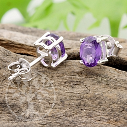 Earstuds Oval Amethyst Gemstone Sterling Silver 925 7X11mm