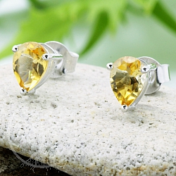 Citrine Gemstone Earrings Faceted Drop Sterling Silver 925 8x6mm