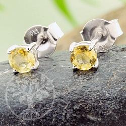 Citrin Ohrstecker Edelstein facettiert kleine Sonnen Sterling Silber 925 4x11mm
