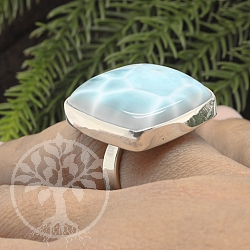 Larimar gemstone Square Ring Silver 925