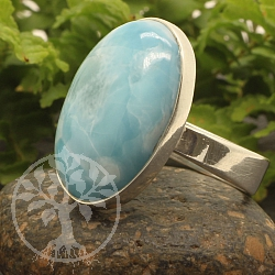Silver Ring With Larimar Gemstone Sterlingsilver 925 Open Size
