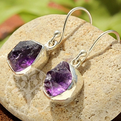 Amethyst Earrings Pendant Raw Sterling Silver 925 25x9mm