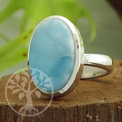 Larimar Edelstein Oval Ring Sterlingsilber 925
