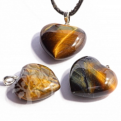 Tiger Eye Falcons Eye Heart Stone Pendant 15mm Silver 925 Hook