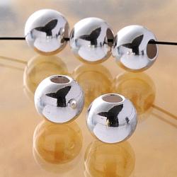 Silber Perle glänzend 8mm Großloch 4mm Loch Perle 925er Silberperle mittleres Gewicht