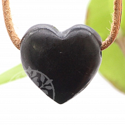 Black Heart Schugit Stone Pendant  25x22mm