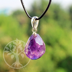 Amethyst Faceted Tumbled Stone Pendant With Silver 925 15mm
