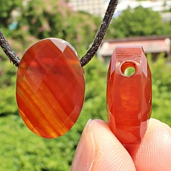 Carnelian Oval Pendant Stone facetted 22x15mm