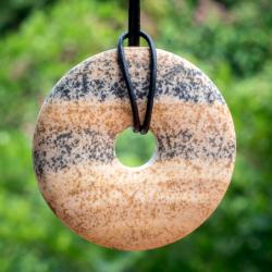 Landschafts Jaspis Donut Stein Anhänger 40mm Matt, nicht poliert