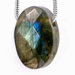 Labradorite Pendant Stone Faceted Oval 22X15mm