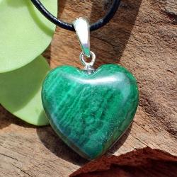 Malachit Herz Anhänger A Natur Echter Edelstein mit 925 Silberöse 16 mm